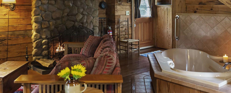 Carolina Log Cabin Tub and Seating Area