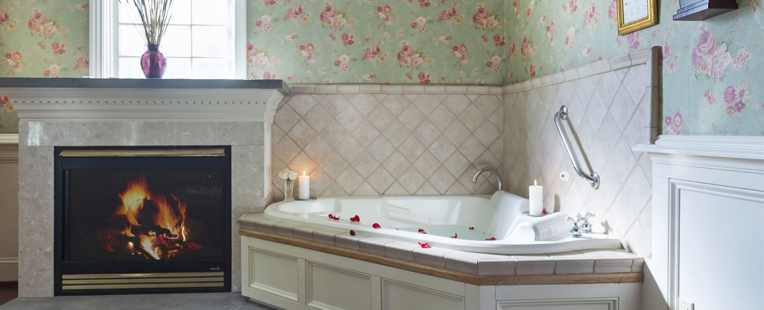Garden Cottage Tub by Fireplace